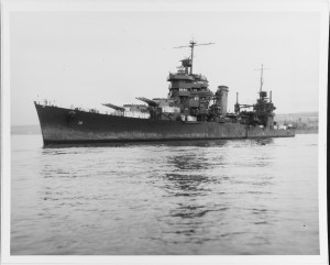 USS San Francisco at Pearl Harbor, post-Guadalcanal (via NHHC)