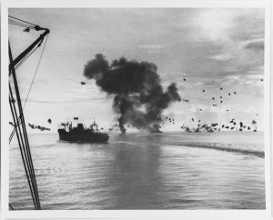 Smoke rises from the USS San Francisco off Guadalcanal on Nov. 12, 1942 (via NHHC)