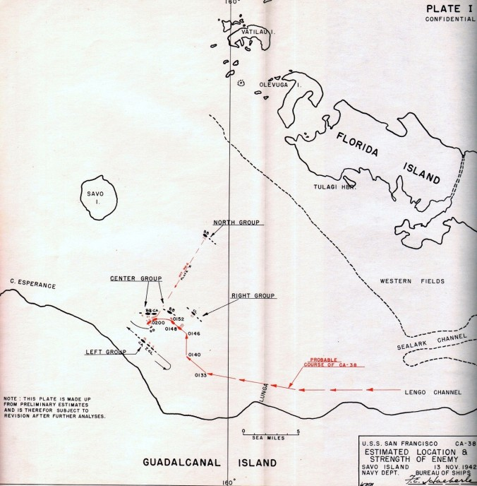 USS San Francisco position, Nov. 13, 1942 (via NHHC)